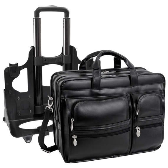 "17"" Leather Detachable-Wheeled Laptop Case Mcklein Clinton"