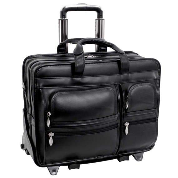 """17"""" Leather Detachable-Wheeled Laptop Case Mcklein Clinton"""