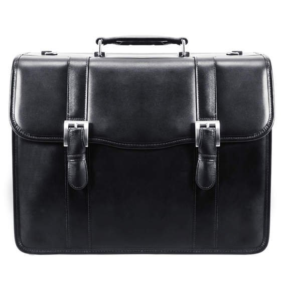 "15.6"" Leather Double Compartment Laptop Case Mcklein Flournoy"