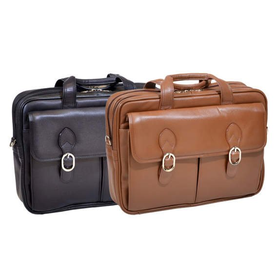 """15.6"""" Leather Double Compartment Laptop Case Mcklein Kenwood"""