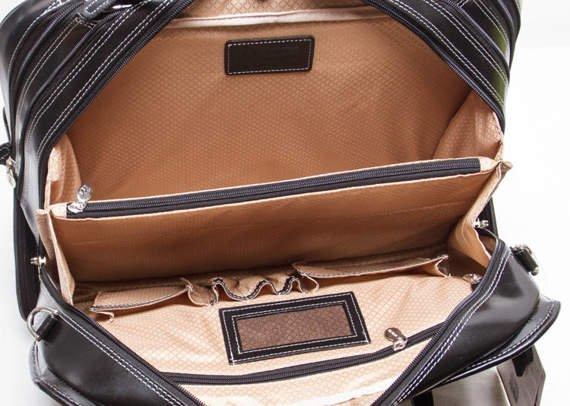 """17"""" Leather Detachable-Wheeled Ladies' Briefcase Mcklein Willowbrook"""