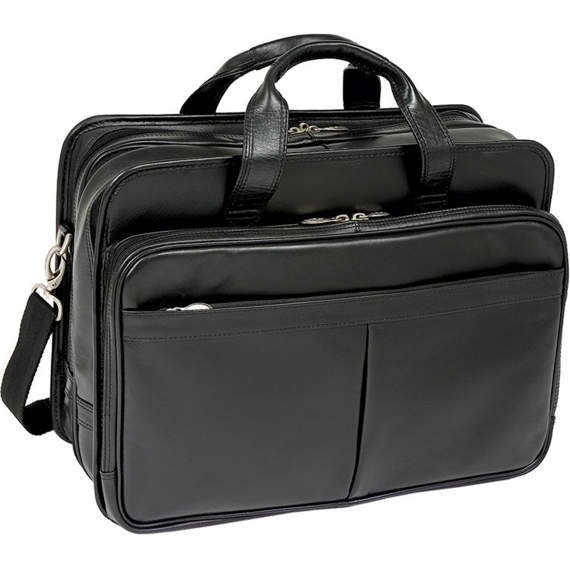 "17"" Leather Expandable Double Compartment Laptop Case w/ Removable Sleeve Mcklein Walton"