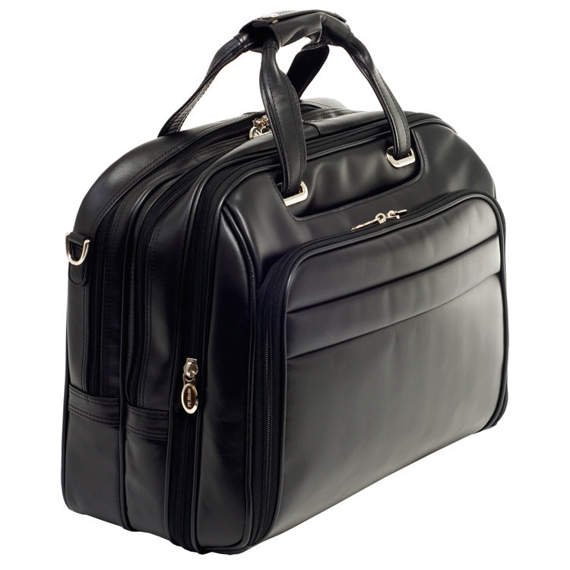"17"" Leather Fly-Through™ Checkpoint-Friendly Detachable Wheeled Laptop Case Mcklein Midway"