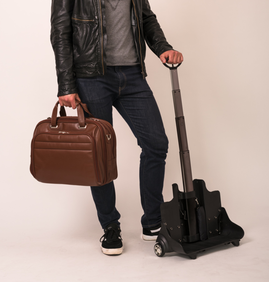 """17"""" Leather Fly-Through™ Checkpoint-Friendly Detachable Wheeled Laptop Case Mcklein Midway"""