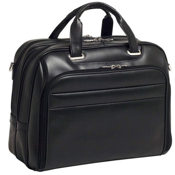 "17"" Leather Fly-Through™ Checkpoint-Friendly Laptop Case Mcklein Springfield"