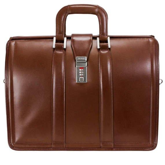 "17"" Leather Litigator Laptop Brief Mcklein Morgan"