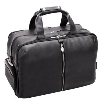 "Biznesowa męska torba skórzana na laptopa Avondale 17"" kolor czarny"