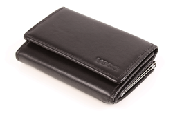 Czarny portfel damski z włoskiej skóry