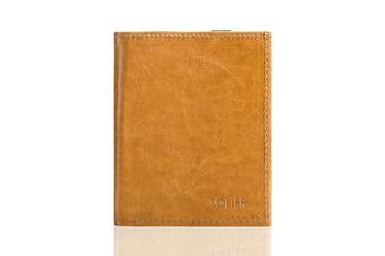 Jasno brązowe skórzane portfel etui na paszport SOLIER SW07