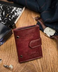 Mały borodowy portfel męski z zapięciem skórzany Always Wild® N9001L-VTK-N WINE