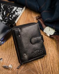 Mały czarny portfel męski skórzany zapięcie Always Wild® N014L-VTK-N BL