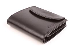 Nietypowy skórzany portfel damski, kolor: czarny