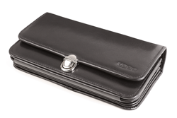 Skórzany czarny portfel damski z rączką PPD1-BL