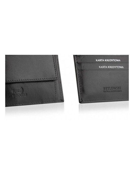 Betlewski elegancki skórzany portfel rfid bpm-bf-66 czarny
