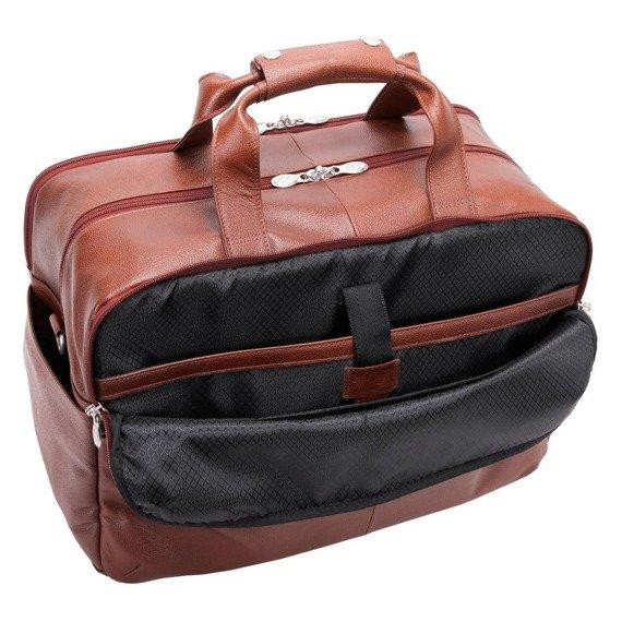 """Biznesowa męska torba skórzana na laptopa Avondale 17"""" kolor brązowy"""