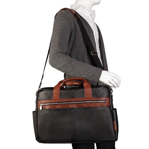 "Biznesowa męska torba skórzana na laptopa Southport 17"" kolor czarny"