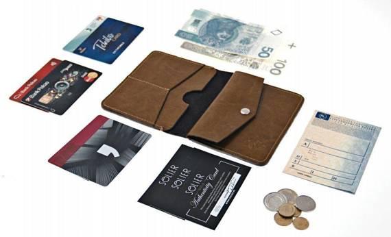 Cienki skórzany męski portfel z bilonówką SOLIER SW15 SLIM BRĄZ