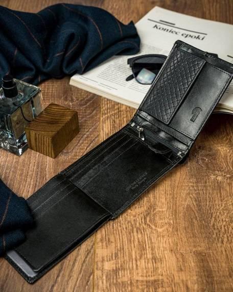 Czarny portfel męski skórzany Forever Young® z przeszyciem N992-PVT