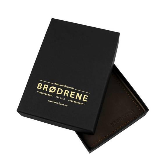 Czarny skórzany portfel slim wallet brodrene sw03