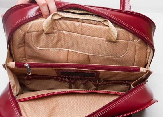 """Damska torba na laptopa z naturalnej skóry, czerwona 15,6"""" Oak Grove"""
