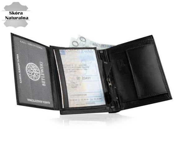Klasyczny portfel męski Betlewski BPM-BF-62 RFID z pudełkiem czarny