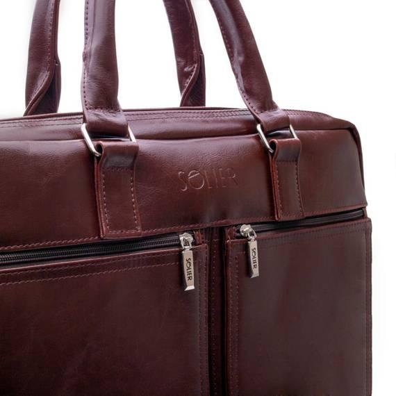 "Męska skórzana torba na ramię, laptopa 17"" Solier SL01 DUNDEE"