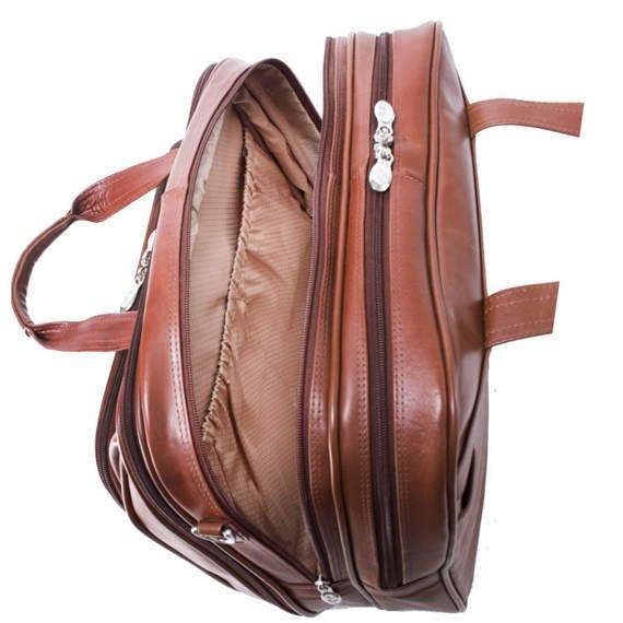 """Skórzana Brązowa torba podróżna na laptopa Midway 17"""""""