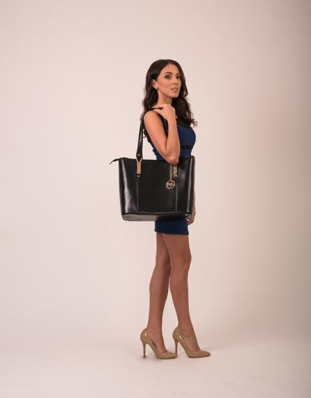 Skórzana damska torebka do pracy Savarna, kolor czarny