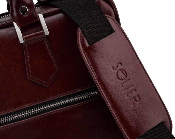 Skórzana torba na laptop z uchwytem na walizkę SL23 bordowa