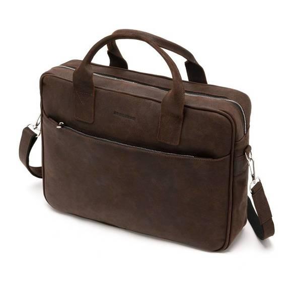 """Skórzana torba na laptopa 15,6"""" na ramię brodrene bl12 ciemny brąz"""