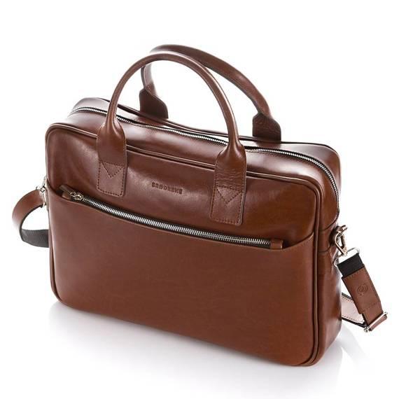 """Skórzana torba na ramię męska na laptop 15,6"""" brodrene r12 jasny brąz"""