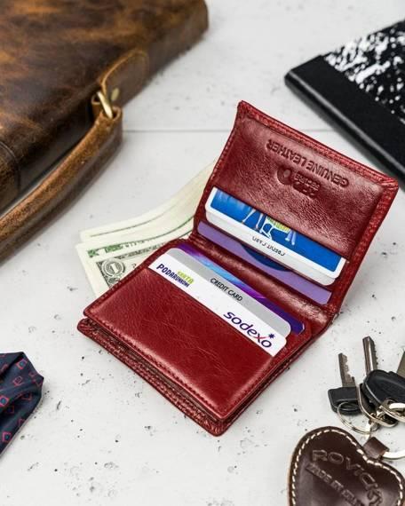 Skórzany portfel etui na karty i dokumenty Rovicky®RFID N1909-RVTK RED
