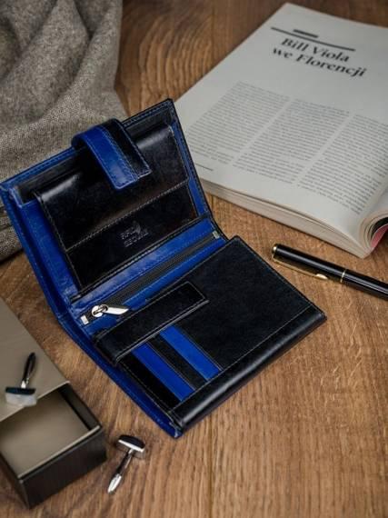 Skórzany portfel pionowy dwukolorowy składany Rovicky zatrzask N104L-VT2 BLACK-BLUE