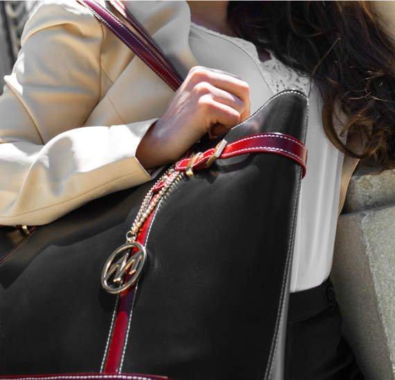 Torba damska, na ramię Serafina, czarno-wiśniowa