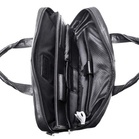 "Torba na ramię Bronzeville Black 15,6"" torba na laptopa skórzana"